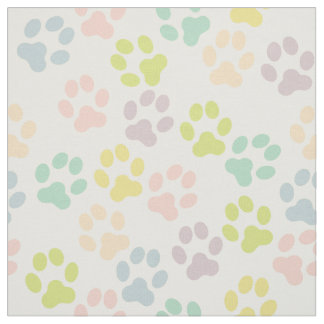 Pretty Pastel Doggy Paw Prints Pattern Fabric