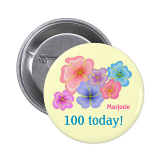 Pretty pastel flowers 100th birthday 6 cm round badge