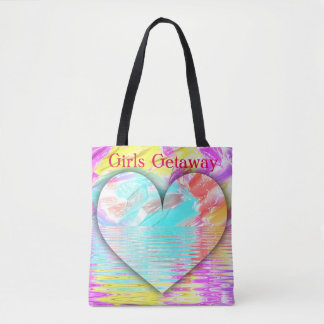 Pretty Pastel Heart Water Ripples 'Girls Getaway' Tote Bag