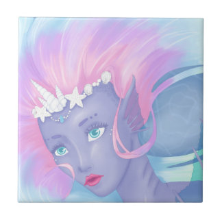 pretty pastel mermaid ceramic tile