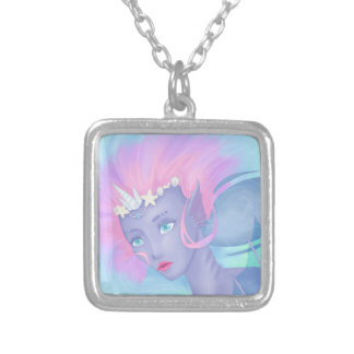 pretty pastel mermaid silver plated necklace