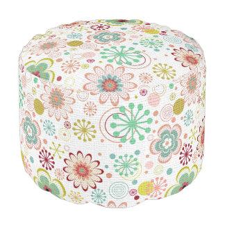 Pretty Pastel Modern Floral Pattern Pouf