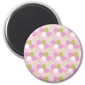 Pretty Pastel Pink Green Patchwork Quilt Design 6 Cm Round Magnet