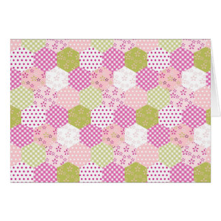 Pretty Pastel Pink Green Patchwork Quilt Design Card