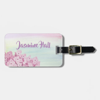 Pretty Pastel Pink Hydrangea Watercolor Luggage Tag