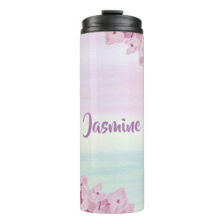 Pretty Pastel Pink Hydrangea Watercolor Thermal Tumbler