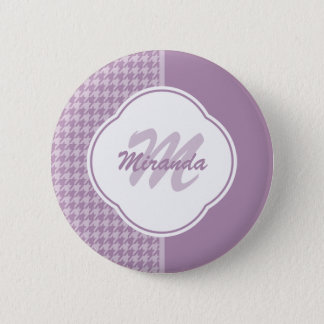 Pretty Pastel Purple Houndstooth Monogram and Name 6 Cm Round Badge