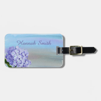 Pretty Pastel Purple Hydrangea Watercolor Luggage Tag