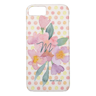Pretty Pastels | Watercolor Flowers and Dots iPhone 8/7 Case