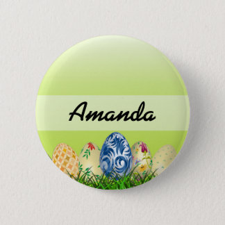 Pretty Patterned Easter eggs on spring green 6 Cm Round Badge