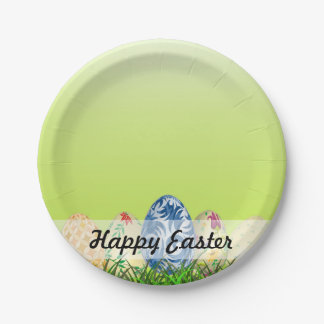 Pretty Patterned Easter eggs on spring green 7 Inch Paper Plate