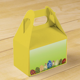 Pretty Patterned Easter eggs on spring green Favour Box