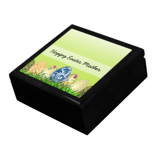 Pretty Patterned Easter eggs on spring green Gift Box