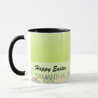 Pretty Patterned Easter eggs on spring green Mug