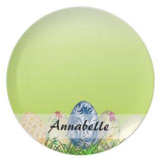 Pretty Patterned Easter eggs on spring green Plate