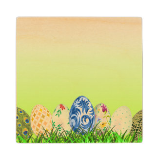 Pretty Patterned Easter eggs on spring green Wood Coaster