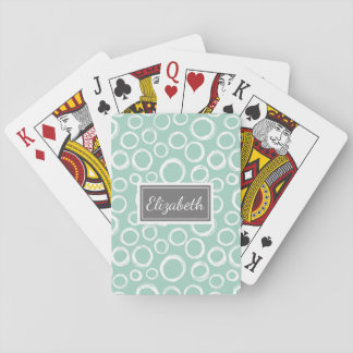 Pretty Patterned Personalized Playing Cards Aqua