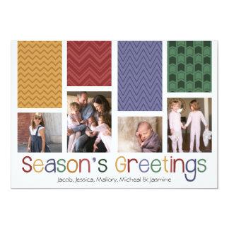Pretty Patterns Holiday Multi Photo Flat Cards 13 Cm X 18 Cm Invitation Card