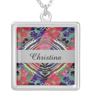 Pretty Paws Zebra Florescent Abstract Silver Plated Necklace