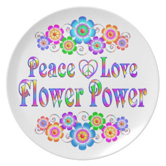 Pretty Peace Love Flower Power Plate