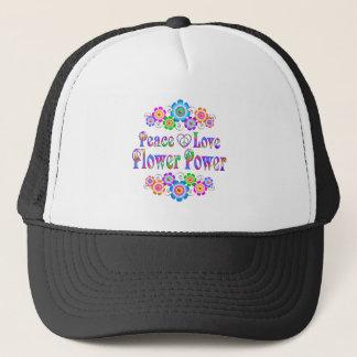 Pretty Peace Love Flower Power Trucker Hat
