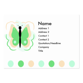 Pretty Peach And Green Butterfly Business Card