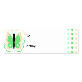 Pretty Peach And Green Butterfly Gift Tag Business Card Template