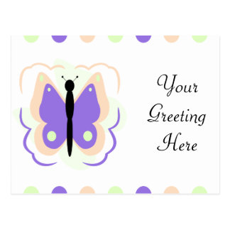 Pretty Peach And Purple Butterfly Postcard