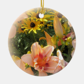 Pretty Peach Day Lilies and Emerson Quote Ceramic Ornament