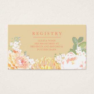 Pretty Peach Floral Wedding Registry Cards