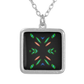 Pretty Peach Green on Black Background Silver Plated Necklace