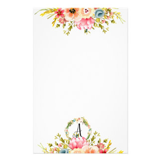 Pretty Peach & Pink Watercolor Floral Monogram Stationery