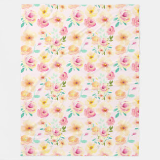 Pretty Peach Pink Yellow Watercolor Floral Fleece Blanket