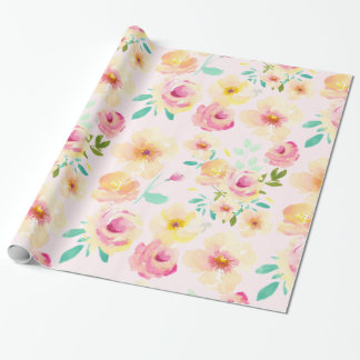 Pretty Peach Pink Yellow Watercolor Flowers