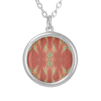 Pretty Peach Tribal Pattern. Silver Plated Necklace