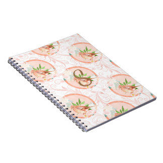 Pretty Peach Watercolor Floral Bird Personalized Spiral Notebook