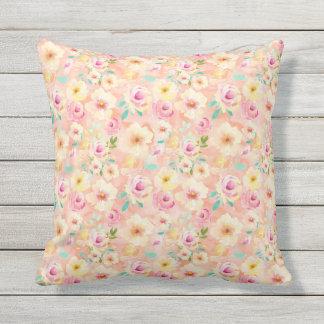 Pretty Peach Watercolor Floral Outdoor Cushion
