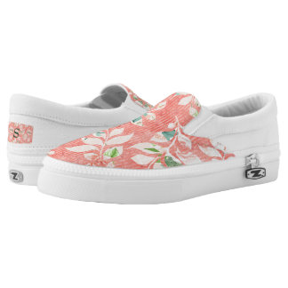 Pretty Peach Watercolor Floral Print Monogrammed Slip-On Shoes