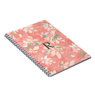 Pretty Peach Watercolor Floral Print Monogrammed Spiral Notebook