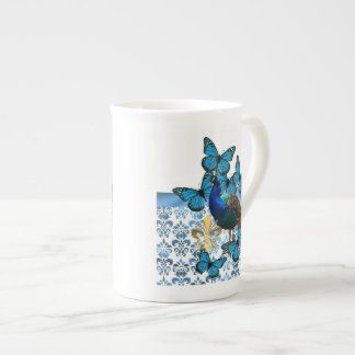 Pretty Peacock and blue butterflies Tea Cup