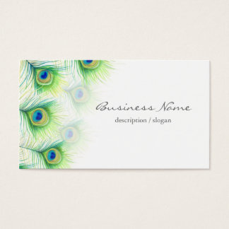 Pretty Peacock Feathers over White Business Card