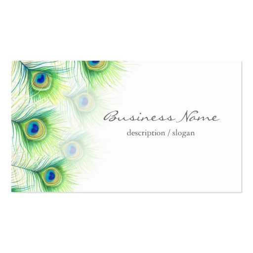Pretty Peacock Feathers over White Business Card Template