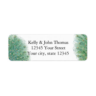 Pretty Peacock Feathers Return Address Label
