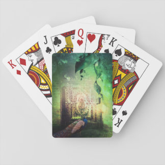 Pretty Peacock Garden Door Design Playing Cards