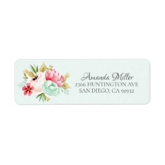 Pretty Peonies Baby Shower Floral Return address Return Address Label