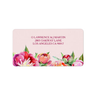 Pretty Peonies Floral Watercolor Label