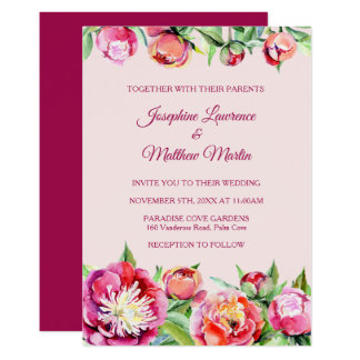 Pretty Peonies Floral Wedding Invitations