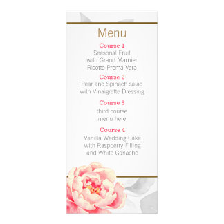 Pretty Peonies Modern Floral wedding menu