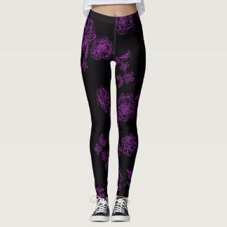 Pretty Peony_purple Leggings