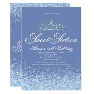 Pretty Periwinkle Glitter, Sweet 16 Invitations